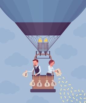 Persone di affari in mongolfiera che investono soldi per profitti futuri