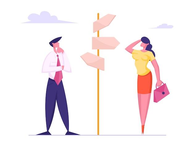 Persone di affari che prendono decisioni importanti e scelte in piedi al bivio