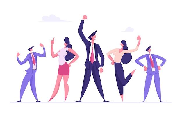 Il team di imprenditori celebra lo sviluppo del progetto e raggiunge l'obiettivo in ufficio