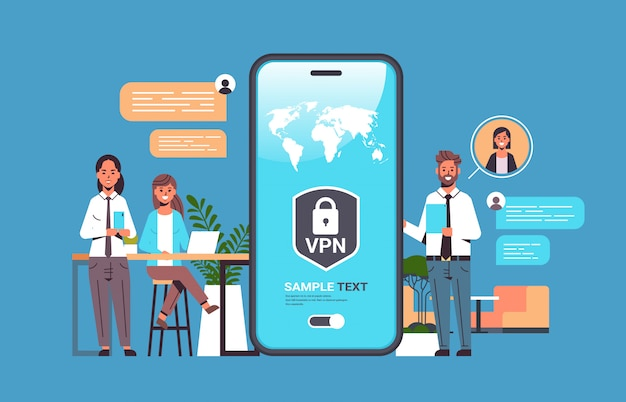 Persone di affari che utilizzano la rete privata virtuale vpn per il concetto di segretezza di sicurezza della sicurezza informatica