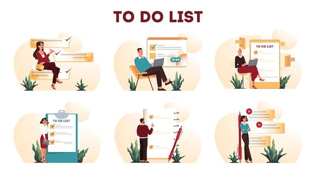 Uomini d'affari con una lunga lista di cose da fare. documento di grande attività. donna e uomo che esaminano la loro lista di ordine del giorno. concetto di gestione del tempo. idea di pianificazione e produttività. set di illustrazione