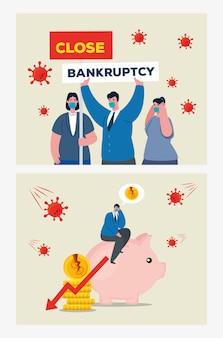 Le persone di affari con le maschere salvadanaio e diminuiscono la freccia del fallimento