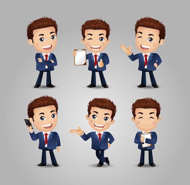 Uomo d'affari con diverse pose.
