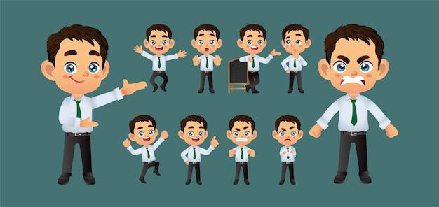 Uomo d'affari con diverse pose