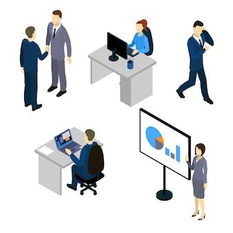 I caratteri isometrici di businesspersons messi con i colloqui alla riunione e dalla gente mobile nei posti di lavoro hanno isolato l'illustrazione di vettore