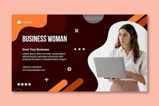 Modello della bandiera della donna di affari