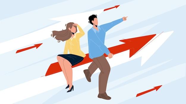 Imprenditrice e imprenditore giovane obiettivo vettore. uomo e donna d'affari mirano, seduti sulla freccia e volano verso il successo insieme. personaggi affari di successo piatto fumetto illustrazione