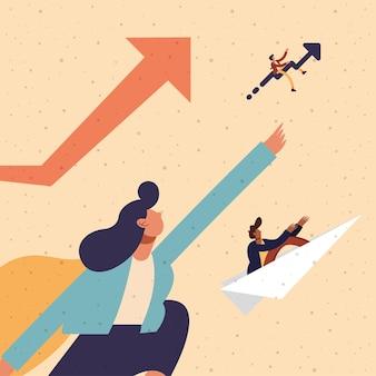 Donna di affari e uomini d'affari con paperplane e aumentare la progettazione della freccia, illustrazione del tema di affari e gestione