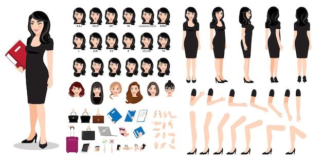 Creazione del personaggio dei cartoni animati della donna di affari con vari punti di vista, acconciature, emozioni del viso, sincronizzazione labiale e pose. parti del modello del corpo per lavori di progettazione e animazione.