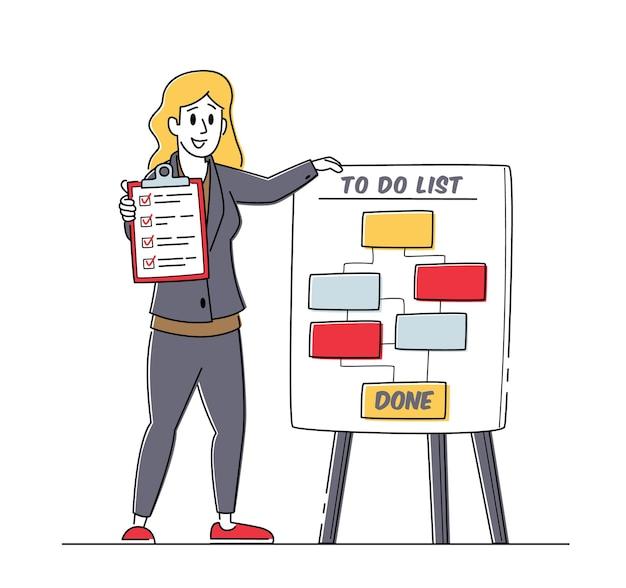 Stand di carattere della donna di affari al programma di elenco da fare che tiene la lista di controllo con i segni nelle caselle di controllo