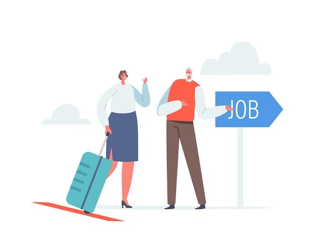 Carattere di donna d'affari con opportunità di lavoro di ricerca valigia in un paese straniero. donna che lascia la patria per lavorare all'estero. migrazione del lavoro, svuotare il cervello. cartoon persone illustrazione vettoriale