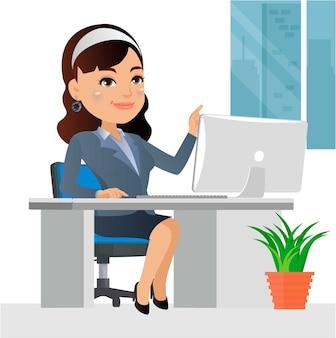 Carattere della donna di affari che lavora su un computer portatile alla scrivania in ufficio