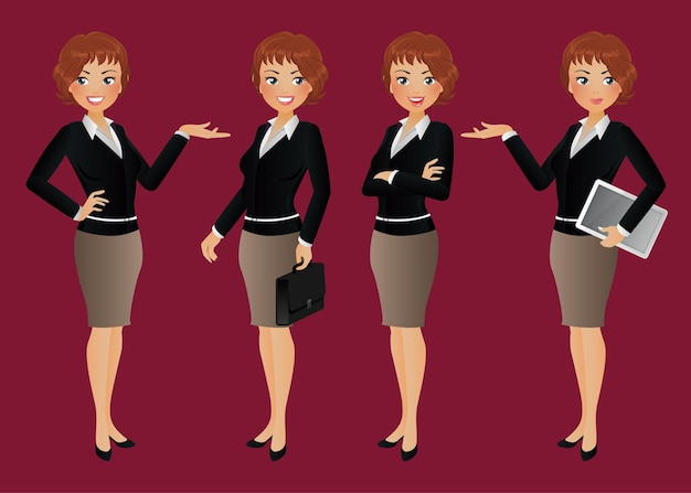 Personaggi di donna d'affari in diverse pose