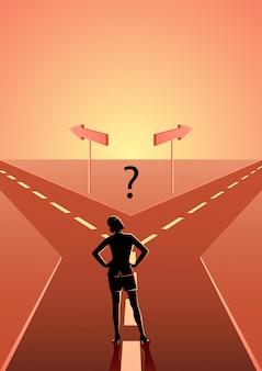 Donna di affari che sceglie quale percorso dovrebbe seguire