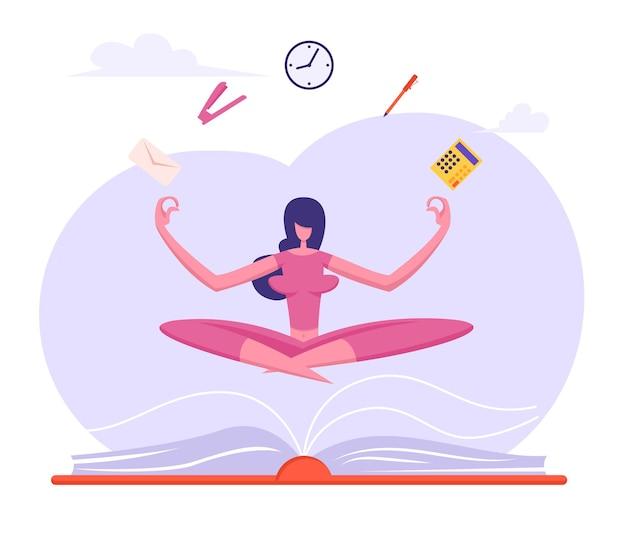 Donna di affari che fa meditazione di yoga nella posizione del loto