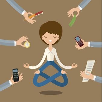 Imprenditrice facendo yoga