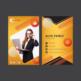 Biglietto da visita fronte-retro della donna di affari