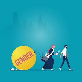 Imprenditrice trascinando il peso di genere vs uomo d'affari che cammina liberamente