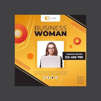 Modello quadrato volantino donna d'affari