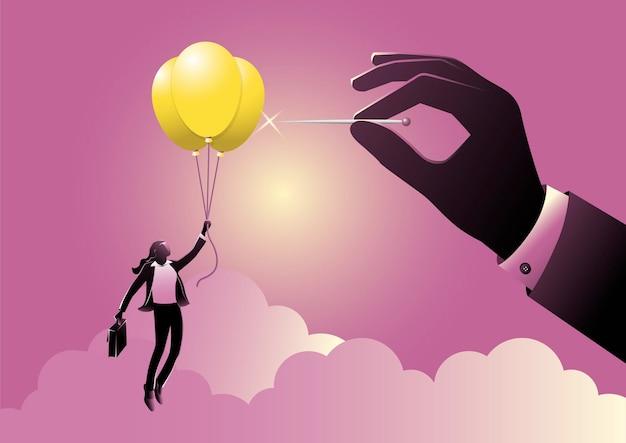 Donna d'affari che vola su un palloncino idea, la mano tiene l'ago pronto a perforare il palloncino