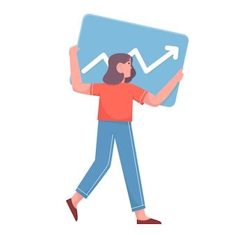 La donna d'affari sostiene i dati statistici