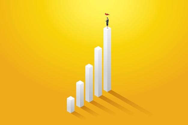La donna d'affari che tiene una bandiera sul grafico a colonne ha raggiunto i suoi obiettivi e il suo successo