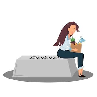 La donna d'affari è sconvolta seduta su un pulsante della tastiera elimina con una scatola di cose è licenziata cartone animato