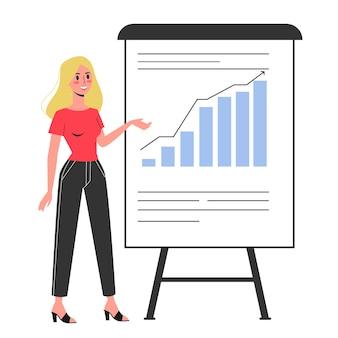 La donna di affari fa la presentazione con il grafico e il grafico. riunione o seminario in ufficio. illustrazione