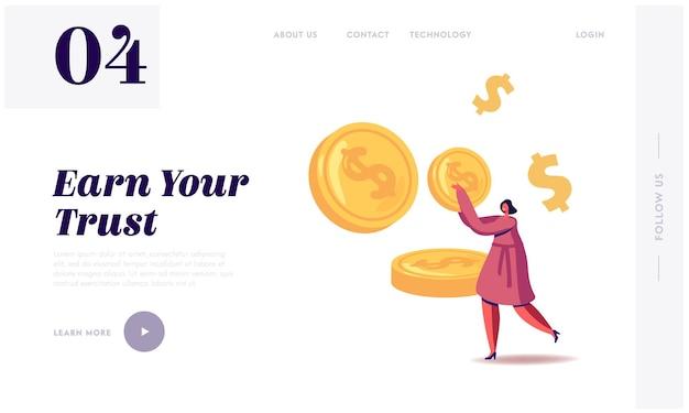 La donna di affari fa risparmio, modello di pagina di destinazione del profitto finanziario.