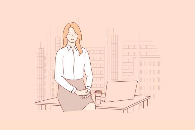 Donna di affari o responsabile nel concetto dell'ufficio.