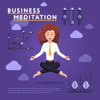 Donna di affari nella posa di meditazione sull'illustrazione del lavoro