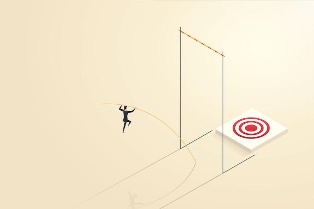 La donna d'affari supera le sfide saltando con l'asta per raggiungere i suoi obiettivi o risultati