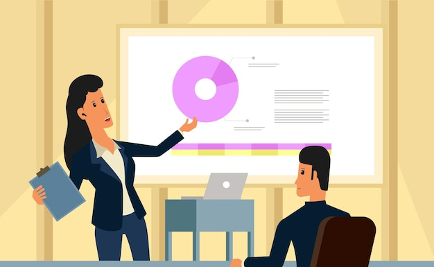 Presentazione della donna d'affari, formazione, consulente, concetto di illustrazione di riunioni con carattere di design piatto