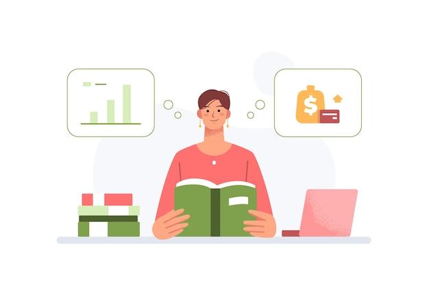 La donna d'affari legge un libro pensa a come definire la strategia aziendale