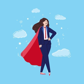 Donna di affari in mantello da supereroe rosso e tailleur