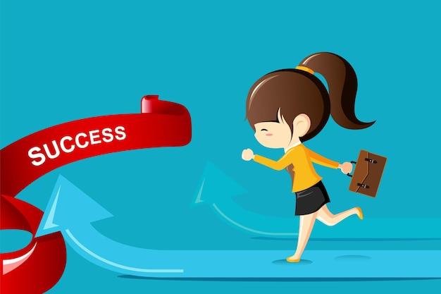 Imprenditrice in esecuzione su una freccia verso il successo. illustrazione di concetto di concorrenza di affari