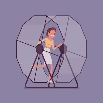 Donna di affari che funziona in una rotella del mouse