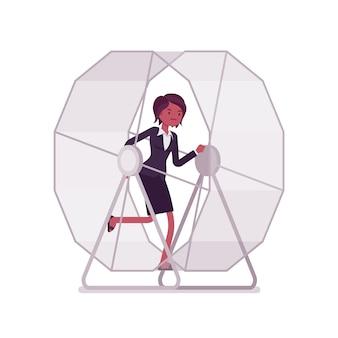 Donna di affari in una ruota corrente