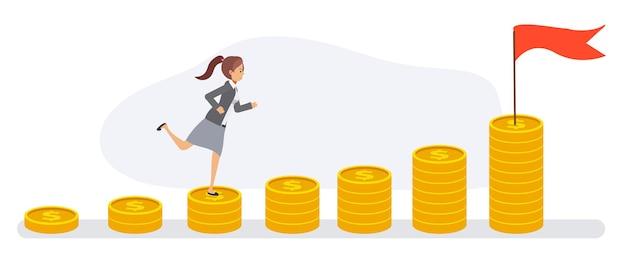 La donna di affari esegue le pile di monete. concetto di successo finanziario, andando verso. personaggio dei cartoni animati piatto vettoriale.