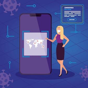 Donna di affari che cerca le informazioni 2019-ncov online in smartphone