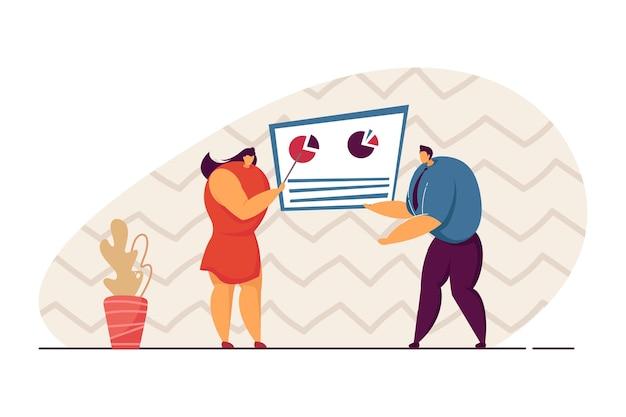 Imprenditrice che mostra rapporto finanziario o di vendita al partner commerciale. successo, cooperazione, illustrazione vettoriale piatto di lavoro di squadra. business, startup, concetto finanziario per banner, design di siti web, landing page