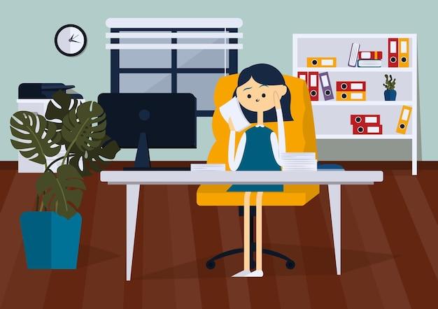 Donna d'affari seduta su una sedia in ufficio e leggere documenti cartaceiillustrazione piatta vettoriale a colori