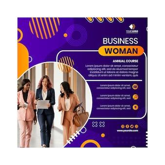 Modello di volantino quadrato della donna di affari