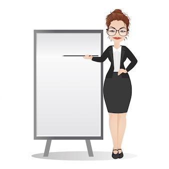 Lavagna di pointing toward della donna di affari o dell'insegnante. dare una presentazione