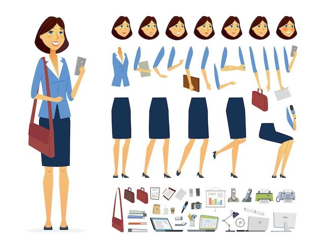 Imprenditrice - vettore cartoon persone costruttore di caratteri isolato su sfondo bianco. set di diverse espressioni del viso, pose, gesti per l'animazione. un sacco di attrezzature per ufficio, oggetti, borse