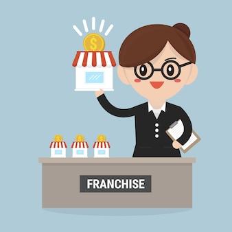 La donna di affari vuole espandere il suo concetto di franchising di affari