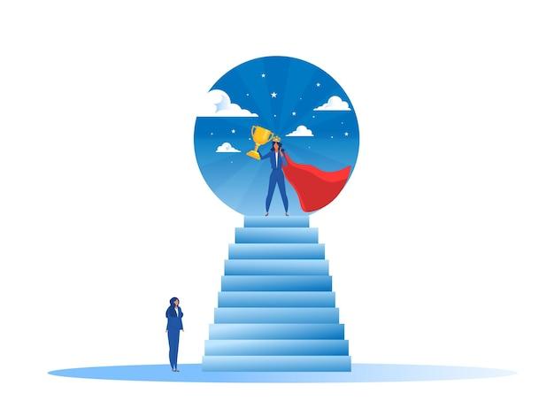 La donna di affari guarda il suo sogno con la donna impower sulla vittoria