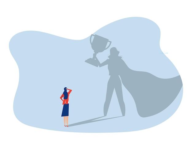 La donna d'affari guarda il suo sogno con la donna di potere sul concetto di carriera di leadership di successo di victorysuccess