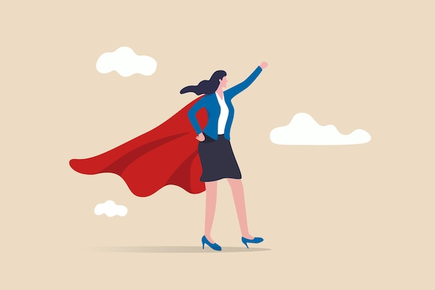 Imprenditrice indossando tailleur con mantello da supereroe