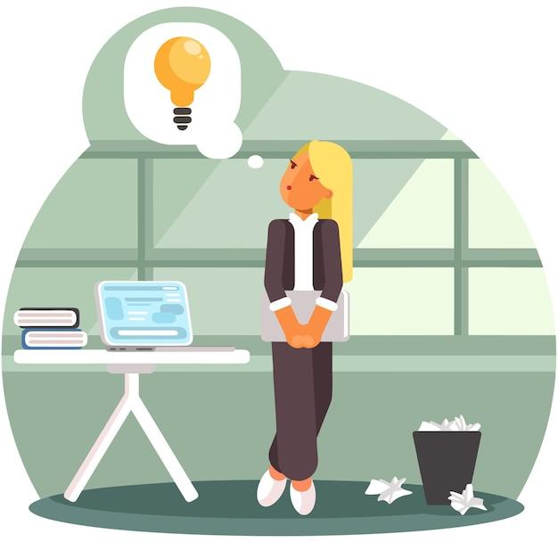 Imprenditrice con lampadina idea imprenditoriale.